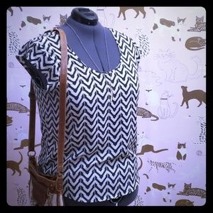 White and Navy Chveron Blouse